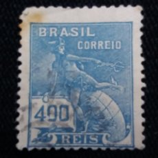 Sellos: CORREO DE BRASIL, 400 REIS, , AÑO 1921. . Lote 183509047