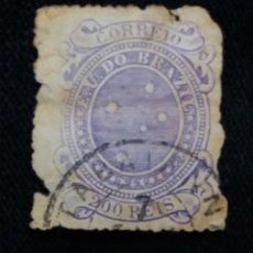 Sellos: CORREO DE BRASIL, 200 REIS, AÑO, 1866-1894. . . Lote 183512723