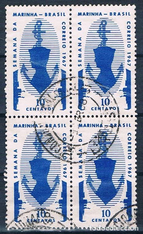 SELLO USADO BRASIL 1967 YVES 839 BONITO BLOQUE DE 4 (Sellos - Extranjero - América - Brasil)