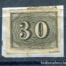 Sellos: YVERT 13 DE BRASIL. 30 R, NEGRO, AÑO 1850. CALIDAD NORMAL DE LA ÉPOCA. Lote 198365707