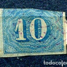 Sellos: YVERT 19 DE BRASIL. 10 R, AZUL, AÑO 1854. MARGEN SUPERIOR RECORTADO. Lote 198365896