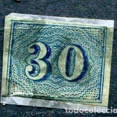 Sellos: YVERT 20 DE BRASIL. 30 R AZUL, AÑO 1854. CALIDAD NORMAL DE LA ÉPOCA. Lote 198366857