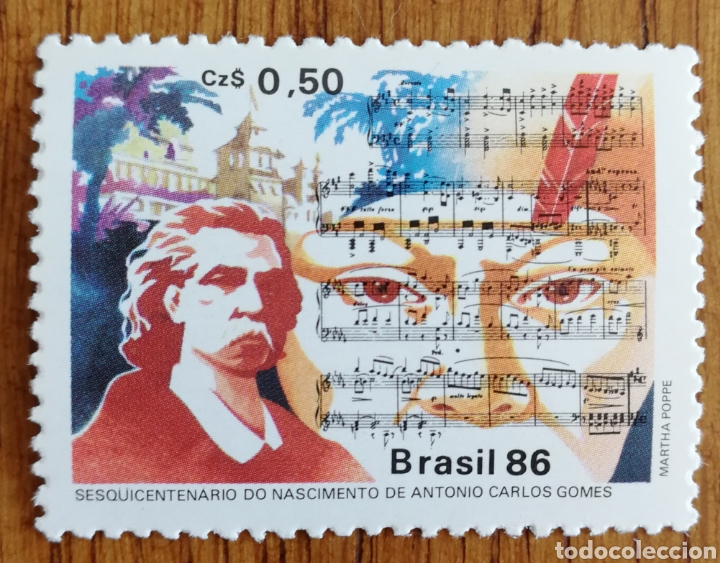 BRASIL, COMPOSITORES 1986,CARLOS GOMES MNH (FOTOGRAFÍA REAL) (Sellos - Extranjero - América - Brasil)