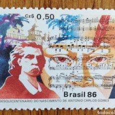 Sellos: BRASIL, COMPOSITORES 1986,CARLOS GOMES MNH (FOTOGRAFÍA REAL). Lote 199633441