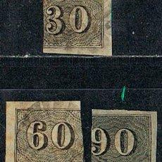 Sellos: BRASIL Nº 1/3 (AÑO 1.843), CIFRAS, TIPO OJO DE BUEY, USADO SERIE COMPLETA BISECTADOS. Lote 199756620