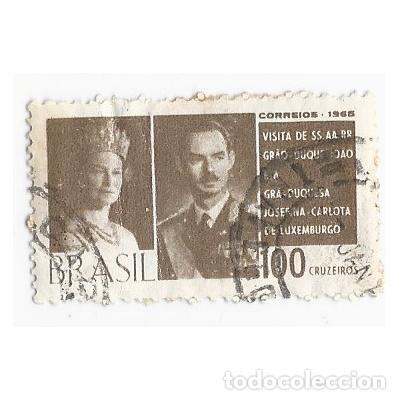SELLO BRASIL 1965 VISITA DUQUES DE LUXEMBURGO 100 CRUZEIROS (Sellos - Extranjero - América - Brasil)