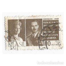 Sellos: SELLO BRASIL 1965 VISITA DUQUES DE LUXEMBURGO 100 CRUZEIROS. Lote 203561876