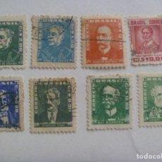 Sellos: LOTE DE 8 SELLOS ANTIGUOS DE BRASIL : PERSONAJES DE LA HISTORIA DEL BRASIL. Lote 210032845