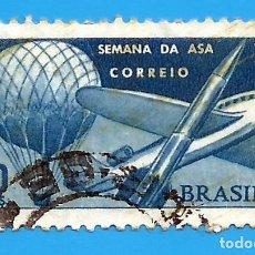 Sellos: BRASIL. 1967. SEMANA DE ASA. GLOBO, AVION Y COHETE. Lote 211584541