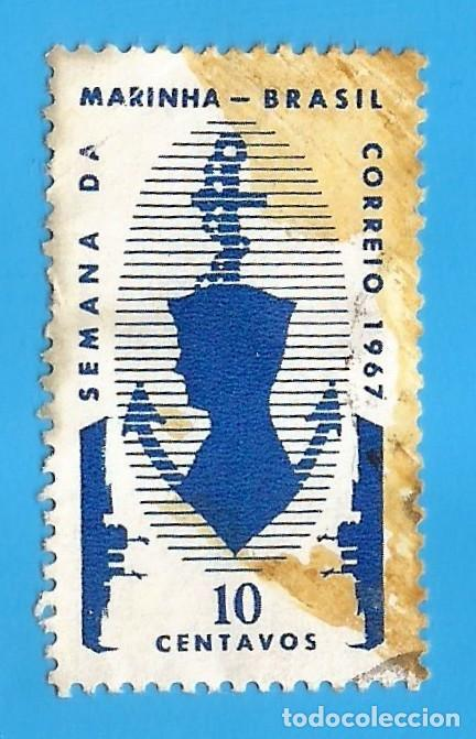 BRASIL. 1967. SEMANA DE LA MARINA. BARCOS, ANCLA Y MARINERO (Sellos - Extranjero - América - Brasil)