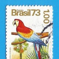 Selos: BRASIL. 1973. GUACAMAYA ROJA Y PALMERA CARNAUBA. Lote 211586060