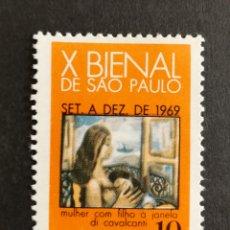 Sellos: BRASIL, X BIENAL DE SAO PAOLO MNH 1969 (FOTOGRAFÍA REAL). Lote 211591450