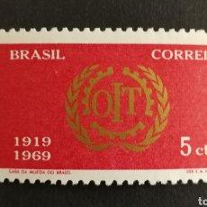 Sellos: BRASIL, 50°ANIVERSARIO DE LA ORGANIZACIÓN NACIONAL DEL TRABAJO 1969 MNH (FOTOGRAFÍA REAL). Lote 211596986