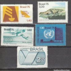 Sellos: BRASIL 5 SELLOS NUEVOS 1975. Lote 219025493