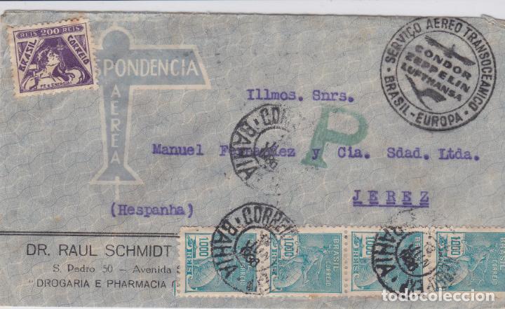 CARTA DE BRASIL A JEREZ, CON MARCA CONDOR ZEPPELINN BRASIL EUROPA. (Sellos - Extranjero - América - Brasil)