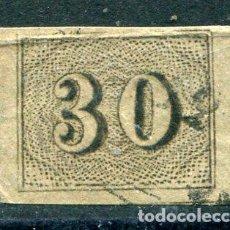 Sellos: YVERT 13 DE BRASIL. 30 R, NEGRO, AÑO 1850. CALIDAD NORMAL DE LA ÉPOCA. Lote 222483222