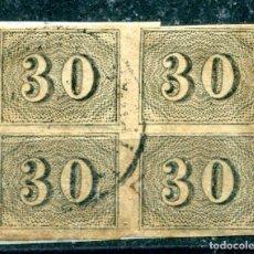 Francobolli: YVERT 13 DE BRASIL. 30 R, NEGRO, AÑO 1850. EN BLOQUE DE 4, CON PAPEL PEGADO. CALIDAD NORMAL ÉPOCA. Lote 222483403