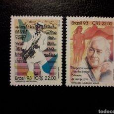 Francobolli: BRASIL YVERT 2138/9 SERIE COMPLETA NUEVA *** 1993. MÚSICA. ALFREDO DA ROCHA Y VINICIUS DE MORAES. Lote 223115475