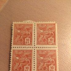 Sellos: BLOQUE DE 4 BRASIL 10 REIS 1940 MNH. Lote 235542990