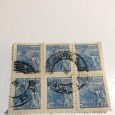 Sellos: BLOQUE DE 6 BRASIL 1,20 CR 1946-1951 USADO. Lote 235576615