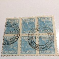 Sellos: BLOQUE DE 6 BRASIL 400 REIS 1946-1951 USADO. Lote 235577040