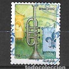 Sellos: INSTRUMENTOS DE METAL: TROMPETA. BRASIL. SELLO AÑO 2002. Lote 261336645