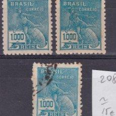 Sellos: FC2-208- CLÁSICOS / ANTIGUOS BRASIL . YT 208. Lote 262676855