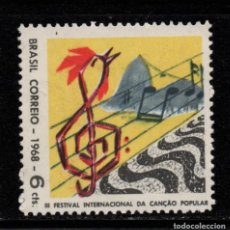 Sellos: BRASIL 867** - AÑO 1968 - FESTIVAL INTERNACIONAL DE MUSICA POPULAR. Lote 268764604