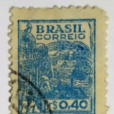 Sellos: SELLO DE BRASIL 0,40 CR - 1946 - AGRICULTURA - USADO SIN SEÑAL DE FIJASELLOS. Lote 268894974