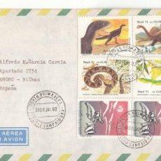 Sellos: CORREO AEREO: BRASIL 1992. Lote 277127633