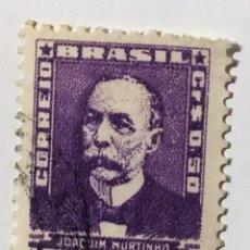 Sellos: SELLO DE BRASIL 0,50 CR - 1954 - JOAQUIN MURTINHO - USADO SIN SEÑAL DE FIJASELLOS. Lote 287678953