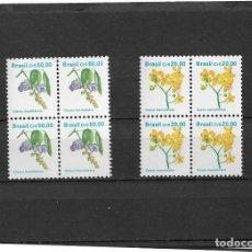 Sellos: BRASIL 1990, SERIE FLORES EN BLOQUE DE CUATRO. MNH.. Lote 293751863