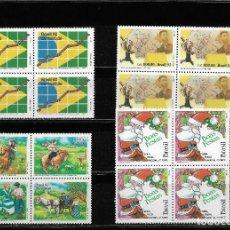 Sellos: BRASIL, LOTE DE SERIES EN BLOQUE DE CUATRO. MNH.. Lote 293752188
