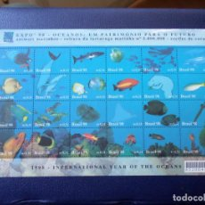 Sellos: *BRASIL, 1998, EXPO-98, HOJA BLOQUE AÑO INTERNACIONAL DE LOS OCEANOS. Lote 296712128