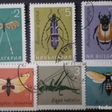 Sellos: BULGARIA - IVERT 1247-52 - SERIE USADA - INSECTOS. Lote 146911742