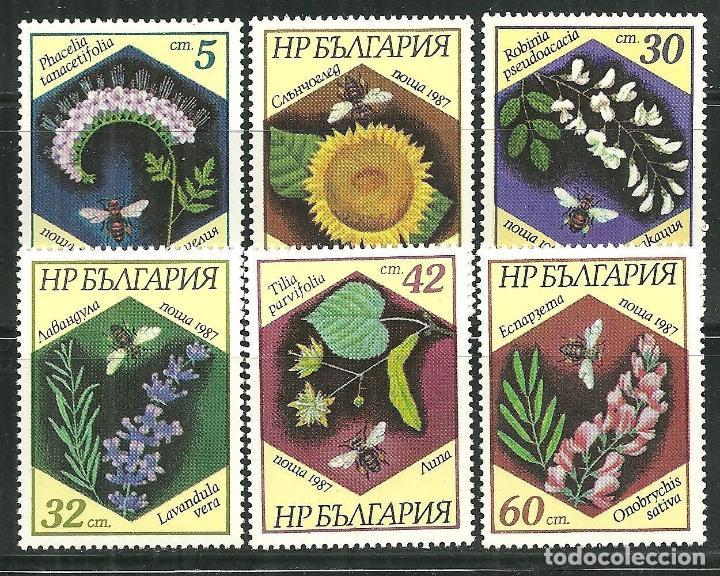 BULGARIA 1987 IVERT 3103/08 *** FAUNA Y FLORA - FLORES Y ABEJAS - INSECTOS (Sellos - Extranjero - Europa - Bulgaria)