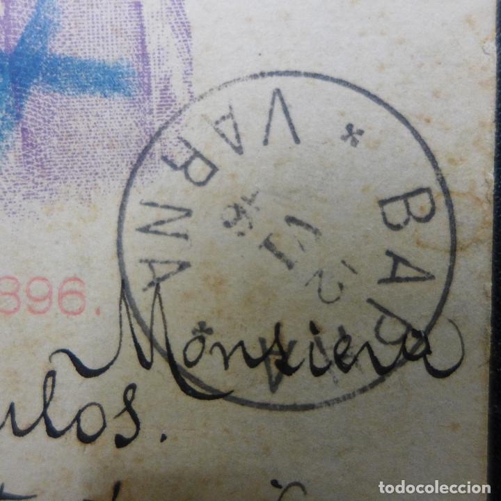 Sellos: ENTERO POSTAL DE BULGARIA CIRCULADO AÑO 1896 CON SELLO DESCONOCIDO - Foto 2 - 183206090
