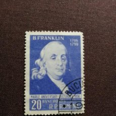 Sellos: RUMANIA - VALOR FACIAL 20 BANI - AÑO 1956 - POLITICO: BENJAMIN FRANKLIN - CON GOMA. Lote 204482275