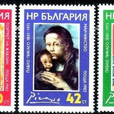 Sellos: BULGARIA 1982 IVERT 2734/6 *** 100º ANIVERSARIO NACIMIENTO DEL PINTOR PABLO PICASSO - ARTE - PINTURA. Lote 210115603
