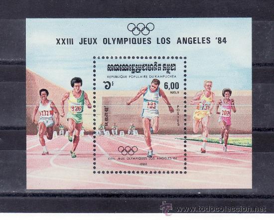 KAMPUCHEA HB 42 SIN CHARNELA, DEPORTE, JUEGOS OLIMPICOS EN LOS ANGELES, (Sellos - Extranjero - Asia - Camboya)