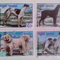 Sellos: CAMBOYA 1987 - PERROS (4 SELLOS). Lote 90191624