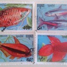 Sellos: CAMBOYA - PECES TROPICALES (4 SELLOS). Lote 90202632