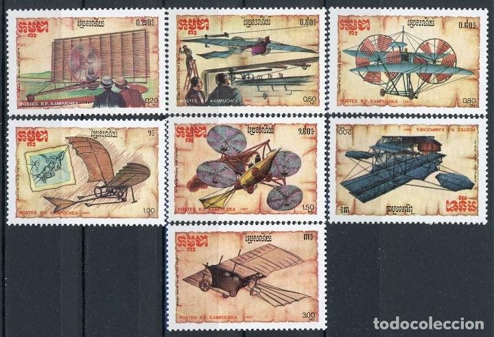 CAMBOYA - KAMPUCHEA 1987 IVERT 744/50 *** HISTORIA DE LA AVIACIÓN - AVIONES ANTIGUOS (Sellos - Extranjero - Asia - Camboya)