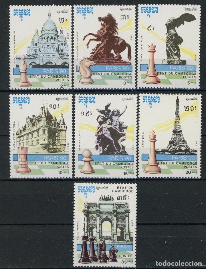 CAMBOYA 1990 IVERT 961/7 *** CAMPEONATO DEL MUNDO DE AJEDREZ EN PARIS - DEPORTES (Sellos - Extranjero - Asia - Camboya)