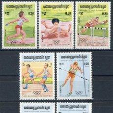 Sellos: CAMBOYA - KAMPUCHEA 1984 IVERT 442/8 *** JUEGOS OLIMPICOS DE LOS ANGELES - DEPORTES. Lote 107519731