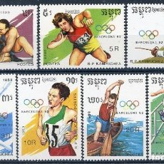 Sellos: CAMBOYA - KAMPUCHEA 1989 IVERT 870A/70J *** DEPORTES - JUEGOS OLIMPICOS DE BARCELONA-92. Lote 107521379