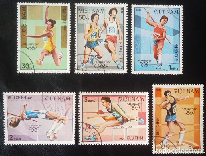 LOTE DE SEIS SELLOS DE VIETNAM. TEMA JUEGOS OLIMPICOS DE LOS ANGELES 1984 (Sellos - Extranjero - Asia - Camboya)