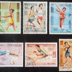 Sellos: LOTE DE SEIS SELLOS DE VIETNAM. TEMA JUEGOS OLIMPICOS DE LOS ANGELES 1984. Lote 129062987