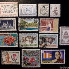 Sellos: CAMBOYA, REINO (HASTA 1971) LOTE DE 14 SELLOS USADOS, ALGUNO CON DOBLEZ.. Lote 147561190