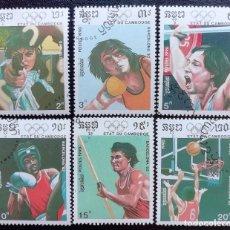 Sellos: 1990. DEPORTES. CAMBOYA. 917 / 923. PRE-JUEGOS OLÍMPICOS BARCELONA. USADO.. Lote 157375354